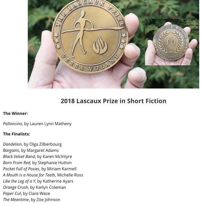 2018 Lascaux Prize Short Fiction Contest Results